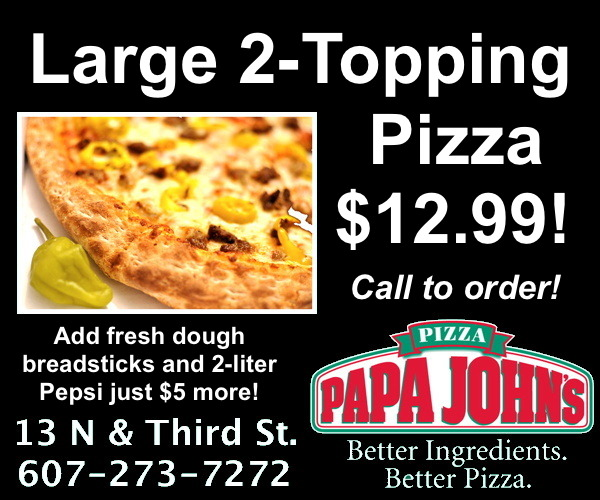 Large 2-Topping Pizza just $12.99 at Papa John's! 607-273-7272