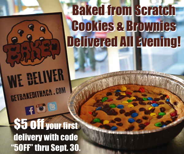 Get Baked! Fresh cookies and brownies delivered to all of Ithaca with $5 off through Sept. 30!