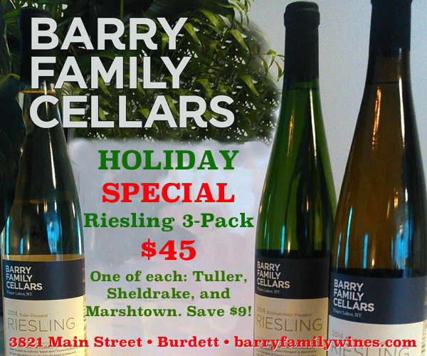 Barry Family Cellars Holiday Special Riesling 3-Pack $45!