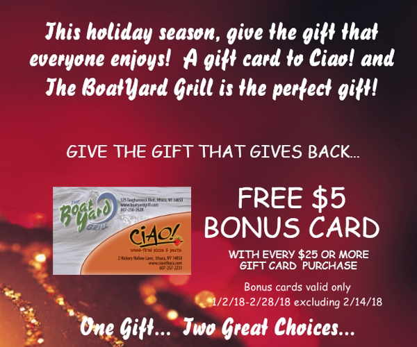 A gift card to Ciao and the BoatYard Grill is the perfect gift!