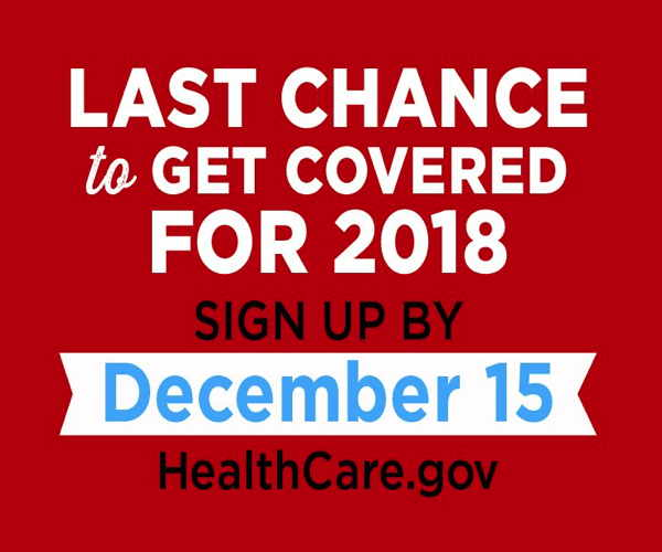 2018 Healthcare Open Enrollment ends December 15th!