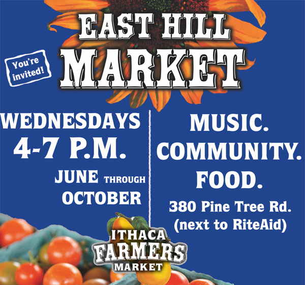 Ithaca Farmers Market Wednesdays on East Hill June through October