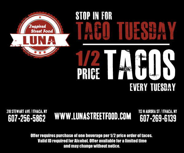 Half price tacos at Luna Inspired Street Food every Tuesday
