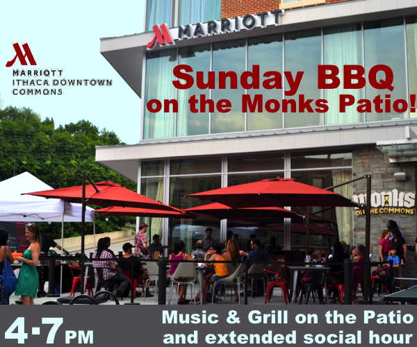 Sunday BBQs on the Monks Patio at the Ithaca Marriott