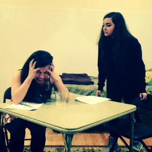 Alejandra Diemecke and Alisar Awwad rehearsing for Ithacan James Comfort's four-play mélange, Epoch. Photo by Katie Spallone provided.