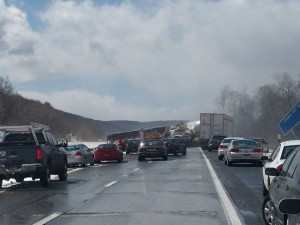 An estimated 30 vehicles were involved in a pileup on Interstate 88. Photo courtesy Ottilie Beardsley.