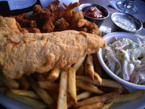 Fish and fried clams on the seafood platter.