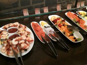 Shrimp, smoked salmon, and fresh fruit on the Taverna Banfi brunch buffet.