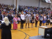 New U.S. citizens being sworn in today at Ithaca's Boynton Middle School. Photo courtesy of Joseph Scaglione.