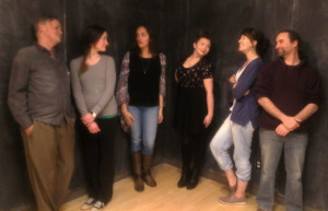 Cast members Chris Nickerson, Helen T Clark, Chantelle Daniel, Katey Collins, Darcy Martin Rose and Mike Davie at the first rehearsal. Photo provided.