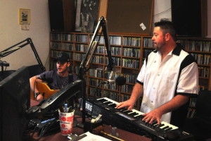 Mike Brindisi (left) and John O'Leary of the New York Rock on one of many appearances on WVBR's Tuesdays with the Band. 14850 Photo by Mark H. Anbinder.