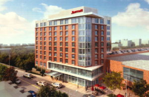 Artist's rendering of the Ithaca Marriott from Urgo Hotels site proposal, courtesy of City of Ithaca.
