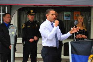 Mayor Svante Myrick speaks at the Badge of Honor Association ceremony for a fallen IPD officer. 14850 file photo.