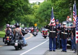 Marines salute riders at the 3rd annual Bordoni Memorial Ride in 2014. Photo courtesy Joe Scaglione III.