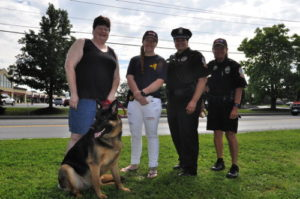 CUPD personnel were joined by a NYS Trooper, and a guard dog named Bella, at last year's event on Pine Tree Road. 14850 file photo.