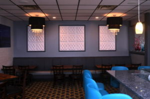 The main dining room, with raw bar at right, at Mix.