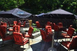 The patio at Mix serves as seasonal al fresco seating as well as an herb garden.