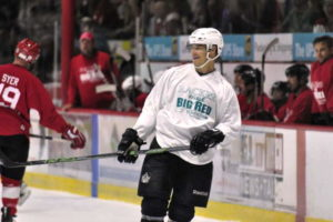NHL star Dustin Brown at last year's Racker Rivals Big Red game. 14850 photo by Mark H. Anbinder.