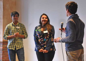 Last year's Rotary exchange students Anup from India and Duda from Brazil speak to club members about their experiences in Ithaca. Photo provided.
