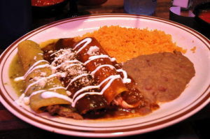 One of each? Enchiladas with salsa verde, enchilada sauce, and a great mole. 14850 Photo by Mark H. Anbinder.