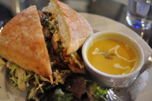 The crisp and spicy Banh Mi, along with the soup of the day.