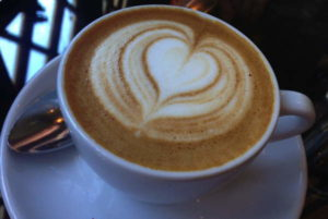 Masterful latte art at the Carriage House Cafe.