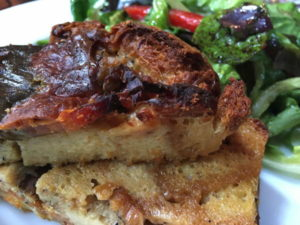 Strata at the Carriage House, essentially a savory cross between bread pudding and omelet.