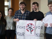 Ithaca College students rallying to support contingent faculty. Photo provided.