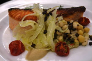 Tender salmon with bean salad and shaved fennel.