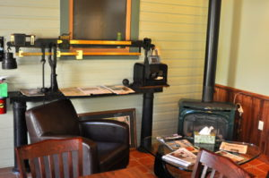 Seats by the fireplace are popular in cold weather!