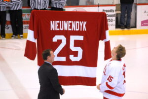 Cornell Alum Joe Nieuwendyk at Lynah when his jersey was retired in 2010. 14850 file photo.