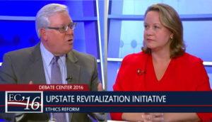 Tom O'Mara (left) and Leslie Danks Burke debated on ICTV last week.