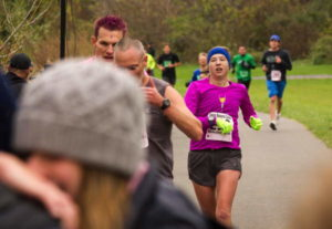 The author running in a particularly chilly Cancer Resource Center of the Finger Lakes 5K. Photo by Judson Powers.