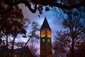 Cornell lit its clock tower green for Veterans Day for the first time this year. Photo courtesy of Cornell.