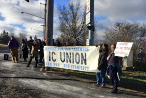 About 100 Picket at Ithaca College Entrance on Monday Morning