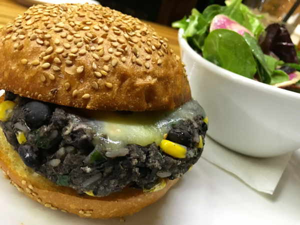 Agava's hearty black bean burger