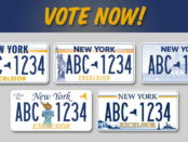 """License plate designs and the words """"Vote Now!"""""""