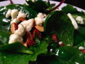 Spinach salad with toppings
