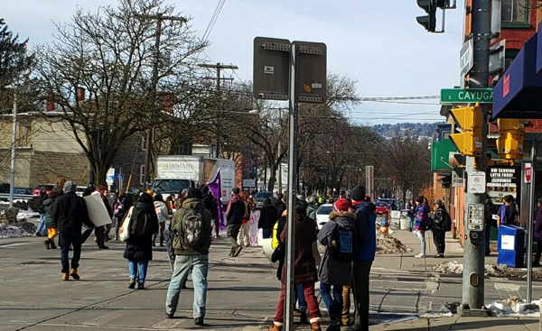 Indigenous protest in Downtown Ithaca blocks Green Street Wednesday morning